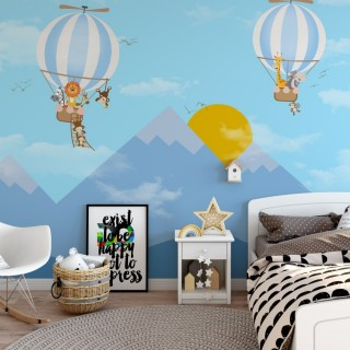 Dağ Güneş ve Balon Çocuk Odası Posteri Mavi