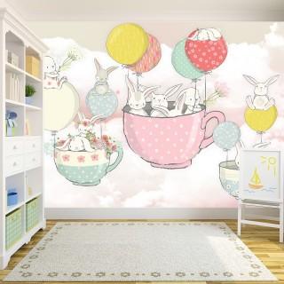 Sevimli Tavşanlar Çocuk Odası Duvar Kağıdı