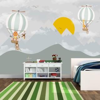 Soft Dağ ve Güneş ve Balon Çocuk Odası Posteri