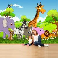 Sevimli Hayvanlar Çocuk Odası Duvar Kağıdı