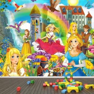 Prensesler Çocuk Odası Duvar Kağıdı