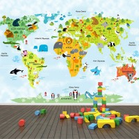 Hayvanlar Alemi Dünya Haritası Mavi - Duvar Posteri