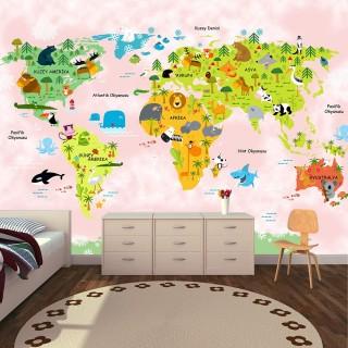 Hayvanlar Alemi Dünya Haritası Pembe - Duvar Posteri