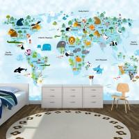 Hayvanlar Alemi Dünya Haritası Mavi Soft - Duvar Posteri