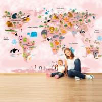 Hayvanlar Alemi Dünya Haritası Pembe Soft - Duvar Posteri