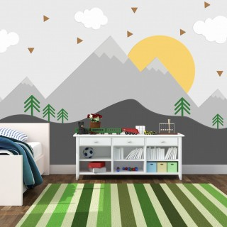 Soft Dağ ve Güneş Çocuk Odası Posteri