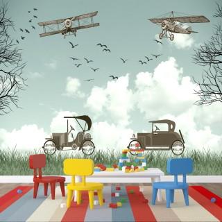 Antika Uçak ve Arabalar Çocuk Odası Poster