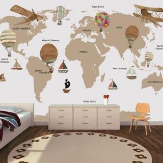 Özel Tasarım Çocuk Odası Dünya Haritası Duvar Kağıdı