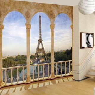 Balkondan Eyfel Kulesi 3D Duvar Posteri