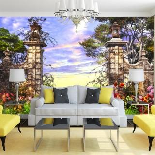 Çiçekli Ağaçlı Kapı Girişi Manzaralı Duvar Posteri
