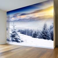 Çam Ağacı ve Kış Manzaralı Duvar Posteri