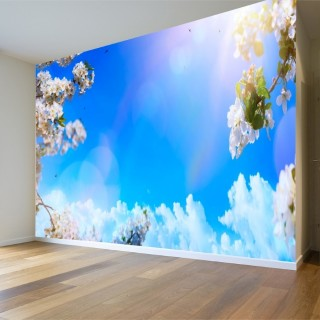 Çiçeklerin Arasında  Gökyüzü Duvar Posteri