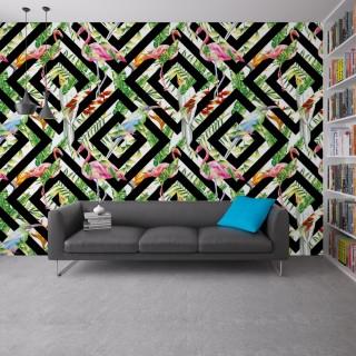 Geometri Ve Flamingolar Duvar Kağıdı
