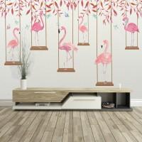 Salıncakta Flamingolar Duvar Kağıdı