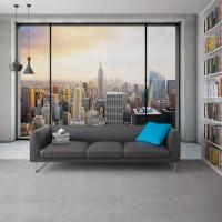 Pencereli Duvar ve Şehir Manzarası Duvar Posteri