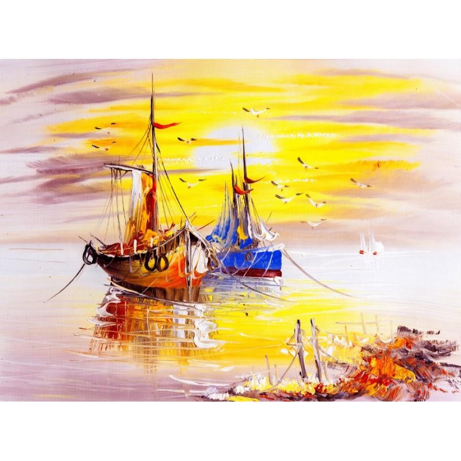 A202 006 özel Tasarım Sanatsal Tekne Boyama Manzaralı Duvar Kağıdı