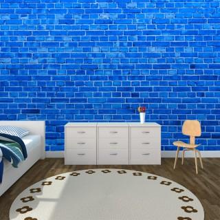 Mavi Tuğla Duvar Posteri