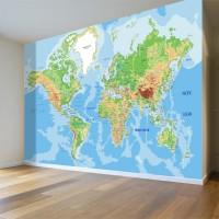 Dünya Fiziki Haritası Duvar Posteri