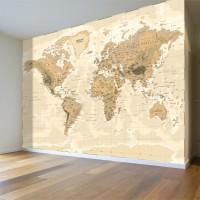 Bej Dünya Haritası Duvar Posteri