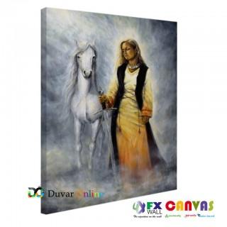 Asil At ve Kadın Kanvas tablo