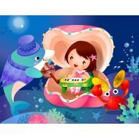 Yunus Balığı ve Yengeçle Kabukta Piyano Çalan Kız Çocuk Odası Duvar posteri