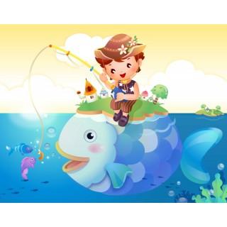 Balık Tutan Çocuk Duvar Posteri