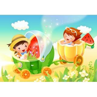 Çocuk Odası Bebek Arabalı Duvar Posteri