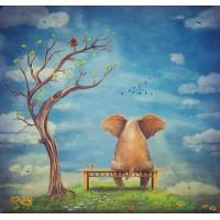 Hüzünlü Fil Çocuk Odası Duvar Posteri