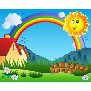 Çocuk Odası Güneş ve Gökkuşağı Duvar Kağıdı