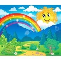 Gökkuşağı Manzaralı Çocuk Odası Duvar Posteri