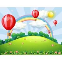 Gökkuşağı Uçan Balonlar Çocuk Odası Duvar Posteri