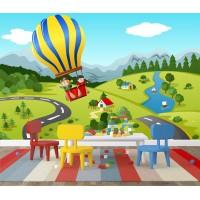 Yeşillikler Üzerinde Sıcak Hava Balonu Duvar Posteri