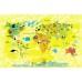 Hayvanlar Alemi Dünya Haritası Sarı - Duvar Posteri