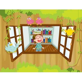 Camdan Bakan Kız Çocuk Odası Duvar Posteri