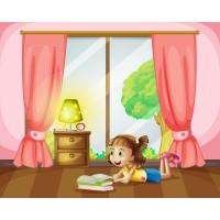 Kitap Okuyan Kız Çocuk Odası Duvar Posteri
