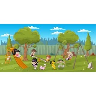Parkta Oyun Oynayan Çocuklar Duvar Posteri