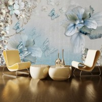 3D Çiçek ve Kelebek Duvar Posteri