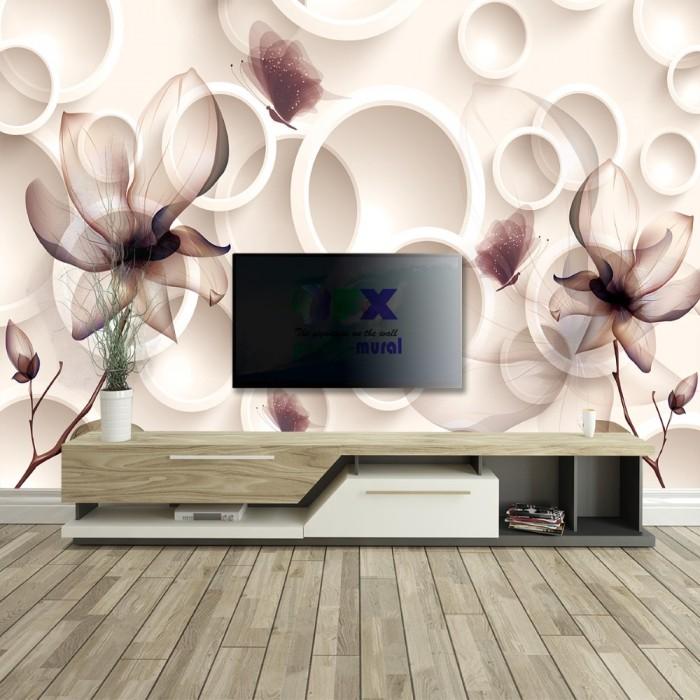 3D Halkalar ve Çiçekler Duvar Posteri