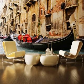 İtalya Venedikte Sandal Duvar Posteri