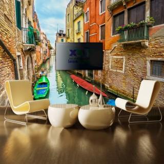 İtalya Venedikte Kanal Duvar Posteri