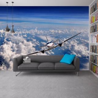 Bulutların Üzerinde Uçak 3D Duvar Kağıdı