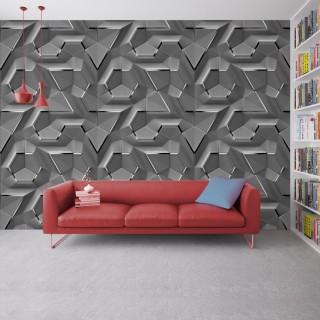 Geometrik 3D Efektli Duvar Kagidi Gri