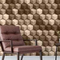 3D Küpler Duvar Kağıdı Kahve FD-015-02