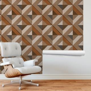 3D Geometrik Kahve Duvar Kağıdı