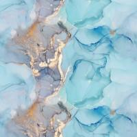 Mavi - Turkuvaz Mermer Desenli Duvar Kağıdı