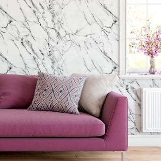 Beyaz Siyah Mermer Desenli Duvar Kağıdı D910