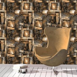 Geometrik 3D Efektli Duvar Kağıdı