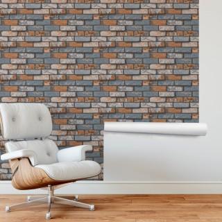 Renkli Tuğla Efektli Duvar Kağıdı
