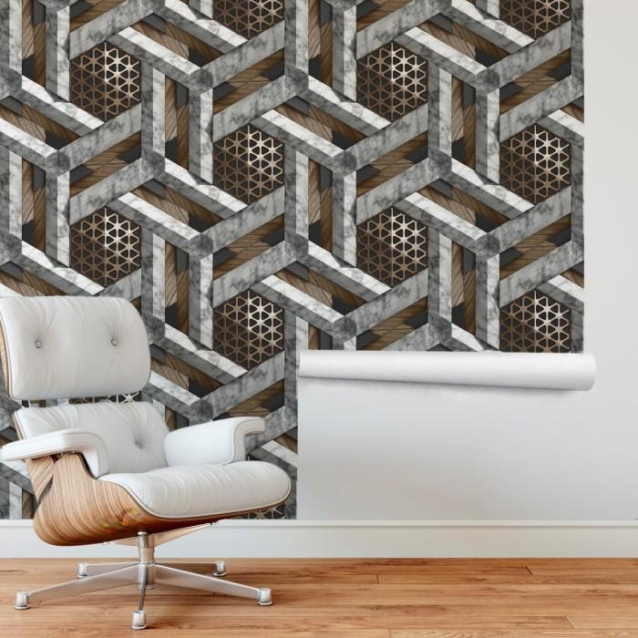3D Geometrik Mermer Duvar Kağıdı